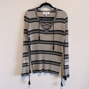 10 Crosby Derek Lam Silk Cashmere Lace Up Sweater